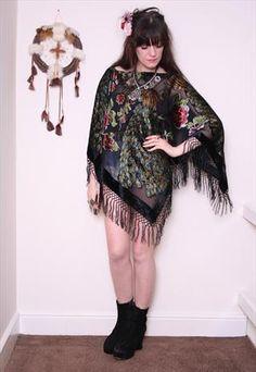 Black Hippy Velvet Peacock Scarf Tassel cape Kimono