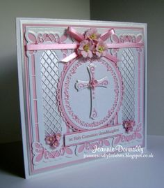 1st Holy Communion / Confirmation Card - Using dies from Creative Expressions / Sue Wilson - Striplets Collection - Lattice Window and Grace, Spellbinders Grand Squares, Crosses Two and Nestabilities Card Creator - A2 Matting Basics B. Centura Pearl Card from Crafters Companion and Flowers from Wild Orchid Crafts.