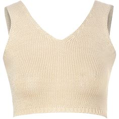 Stone Knit Crop Top (830 THB) ❤ liked on Polyvore featuring tops, crop tops, beige, strappy top, strap vest, cropped vest, beige top and vest crop top