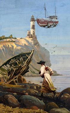 Steampunk Artwork, Steampunk Theme, Lighthouse Painting, Image Painting, Traditional Artwork, Fantasy Setting, Retro Futuristic, Cosplay, Art Drawings