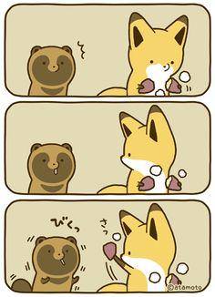 Cute Kawaii Animals, Kawaii Cute, Animal Doodles, Fox Illustration, Dibujos Cute, Japan Design, Maneki Neko, Anime Animals, Cute Fox