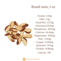 Nuts and seeds are very healthy, despite their calories. Eat a handful nuts and seeds for a nutritious, satiating snack that won't spike your blood sugar levels. Eat unsalted, raw or lightly roasted nuts for best results. #Brazil nuts nutrition #brazil nut #nutsandseeds #healthysnacks #superfoods #nuts #selenium Brazil Nut, Can I Eat, Roasted Nuts, Holistic Nutritionist, Unprocessed Food, Plant Based Protein, Protein Sources, Good Fats, Base Foods