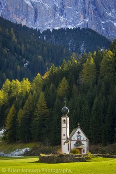 St Johann Church below the Dolomites, Val di Funes, Trentino-Alto-Adige, Italy. © Brian Jannsen Photography