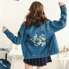HARAJUKU+VINTAGE+FLOWER+EMBROIDERED+DENIM+JACKET  Chinese+size,+please+check+our+measures+below+before+purchasing.+  S:+ Bust+102cm;+Shoulder+38cm; Length+61cm;+Sleeve+Length+60cm  M:+ Bust+104cm;+Shoulder+39cm;+ Length+63cm;+Sleeve+Length+62cm+  L:+ Bust+106cm;+Shoulder+40cm;+ Leng...