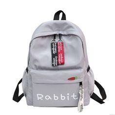 Cute Rabbit Ear Rucksack Large Student Bag Girl Canvas School Backpack #bag #backpack Girls Bags, College Bags For Girls, Rabbit Ears, Large Canvas, Waterproof Fabric, School Backpacks, Pink Grey, Retro Backpack, Student