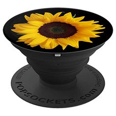 Sunflower Decor Girasol yellow Sun Flower Black Background - PopSockets Grip and Stand for Phones and Tablets Sunflower Yellow Flower Decor sunflower asteraceae helianthus
