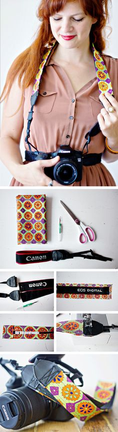 Also want a fun Camera Strap,but afraid that it won't be as useful and sturdy as the original? No worries: easiest DIY solution for you here! #diy #tutorial #camera