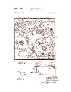 This is a Patent Print for a Game Utilizing Electric Probe - Pre-Operation Game. Spinello John O and it was issued on August 1967 by the United States Patent and Trademark Office. Game Boards, Board Games, Al Games, Operation Game, Printed Pages, Patent Prints, Vintage World Maps, Poster Prints, Canvas Prints