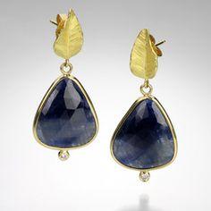 Leaf Sapphire Slice Earrings,Barbara Heinrich