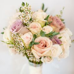 Classic bridal bouquet of purple, blush and white roses | Melissa Robotti Photography | Fancy Flowers