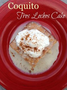 Coquito Tres Leches Cake!  Super simple three ingredient sponge cake drenched in coquito (Puerto Rican coconut eggnog)!  AWESOME!