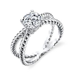 925 Sterling Silver bridal engagement ring jewelry set with simulated diamond cubic zirconias SOE032 X cable shank david yurman design