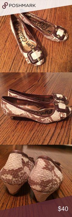 Sam Edelman heels Fashionable Sam Edelman heels. Cream and tan snake skin. Nearly brand new, slight wear on bottom of soles. Size 7 1/2 Sam Edelman Shoes Heels