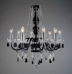 Lustre en Cristal de Bohème Lustre Victorian noir à 8 lumières Duha ...