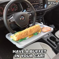 The perfect way to eat a sandwich in your car doesn't exis... Cute Car Accessories, Car Interior Accessories, Jeep Wrangler Accessories, Car Racks, Girly Car, Car Essentials, Car Gadgets, Cool Inventions, Cute Cars