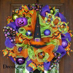 Halloween WITCH HAT Wreath by decoglitz on Etsy