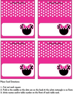 Minnie Mouse Place Cards for Party Seating Chart Minnie Mouse Favors, Minnie Mouse Clubhouse, Minnie Y Mickey Mouse, Minnie Mouse Theme Party, Mickey Party, Mickey Mouse Birthday, Mouse Parties, Minnie Mouse Coloring Pages, Theme Mickey
