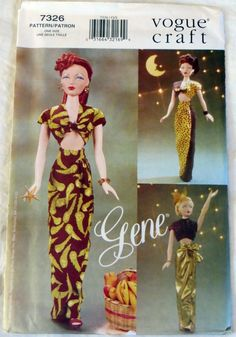 Gene Madra 15 1/2 in Fashion Doll Clothes Evening Gown Vogue 7326 Sewing Pattern | eBay