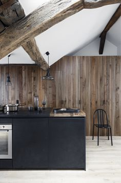 Interior kitchen. modern black//