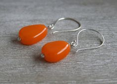 Orange Bead Earrings.  Handmade glass beads.  by AussieJulesOnline, $35.00