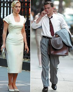 "Kate Winslet and Leonardo DiCaprio are reunited onscreen as a struggling suburban 1950s couple in the movie ""Revolutionary Road"" (dir. Sam Mendes, 2009). I love her vintage look in this killer white suit! (View #1 of 2)"