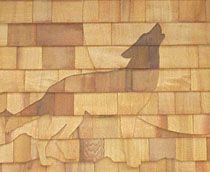 Howling Wolf Shingle Art Close-up