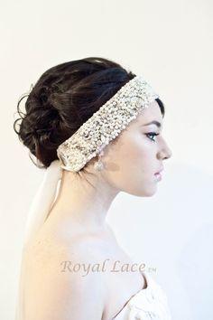 MASONRY pearl, rhinestones, crystals, headband, bridal, ribbon, weeding, bride, hair accessory