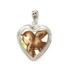 Broken China Jewelry Happy Robin Bird Sterling Heart Pendant