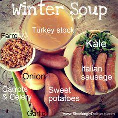 Sweet Potato, Sausage, Kale and Farro Soup. Recipe here: http://www.shockinglydelicious.com/?p=10558