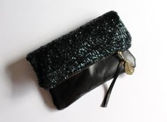 Midnight  Sequin and leather fold over clutch by Amayahandmade, $50.00