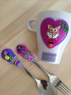 Bogyo es Baboca Spoons, Polymer Clay, Mugs, Tableware, Canisters, Fimo, Dinnerware, Cups, Mug