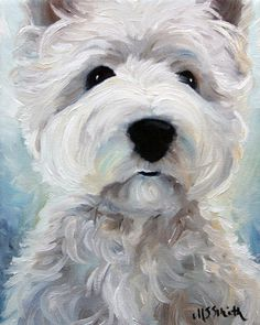 PRINT Westie West Highland Terrier Dog by HangingtheMoonShelby