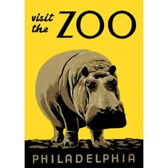 Vintage Print | Visit The Zoo Hippo
