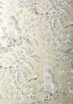 PAGODA GARDEN, Metallic Pewter, T14209, Collection Imperial Garden from Thibaut