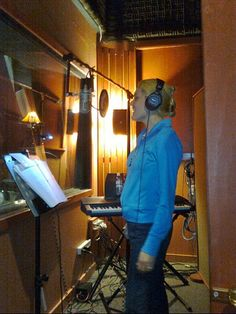 Keri Walsh in Silver Dreams Studio recording vocals  Wireless Dreams.