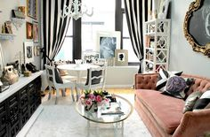 Feminine living room in black and white with pops of pink [Design: Nichole Loiacono]