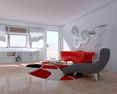 As cores constratadas e as formas curvas e arredondadas dão ao ambiente um ar leve e harmonioso