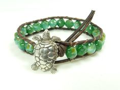 Leather and bead wrap bracelet  sea turtle green by BlueGateStudio, $36.00