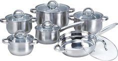Heim Concept 12-Piece Stainless Steel Cookware Set with Glass Lid, Silver #Heim