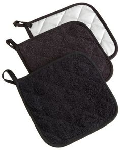 DII Cotton Terry Pot Holders, Set of Heat Resistant and Machine Washable Hot Pads for Kitchen Cooking and Baking-Black Kitchen Linens Sets, Tabletop Accessories, Kitchen Accessories, Thing 1, Hot Pads, Good Grips, Black Cotton, Mittens, Crocs