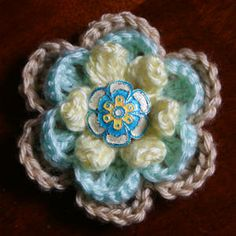 Crocheted layered flower