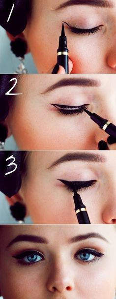 "How To Draw a Perfect Cat Eye, Every Time .............. Look at yourself straight on in the mirror. Where your eyebrows end should be the direction your liner goes. Now tilt your chin upwards and look back down at the mirror with your eyes. Take your felt tip liner to start at the outside corner of your eye. Draw a ""flick"" up toward the end of your eyebrow. It doesn't have to be perfect. Repeat on the other eye......Kur <3"