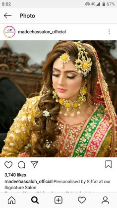Pakistani Bridal Hairstyles, Pakistani Bridal Makeup, Bridal Dupatta, Bridal Mehndi Dresses, Pakistani Mehndi Dress, Pakistani Dress Design, Pakistani Dresses, Mayon Dresses, Engagement Hairstyles