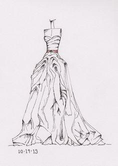 weddinng dress illustration great gift idea by dresssketch
