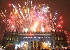 #Fireworks #Yorkshire - Fireworks light up the sky above Leeds Town Hall in celebration of the Yorkshire Grand Depart Le Tour de France 2014