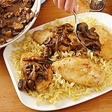 Deliciously classic mushroom chicken marsala with a light sauce that perfectly accents the white meat. Easy Chicken Recipes, Turkey Recipes, Food Dishes, Main Dishes, Great Recipes, Dinner Recipes, Le Croissant, Mushroom Chicken, Mushroom Sauce