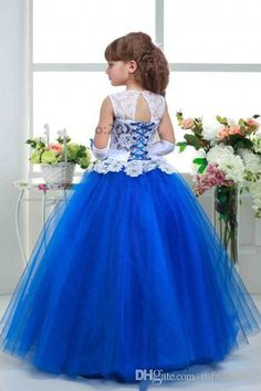 Hot Scoop White Lace Top White Sash Royal Blue Tulle Princess Flower Girl Dresses Girls Christmas Dress Girls Birthday Formal Party Dress Flower Girl Dresses Sleeveless Flower Girl Dresses Girls Communion Dresses Online with $82.29/Piece on Mfsdresses's Store | DHgate.com