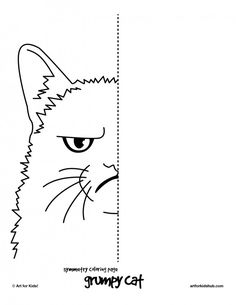 6 free coloring pages cat symmetry art for kids hub