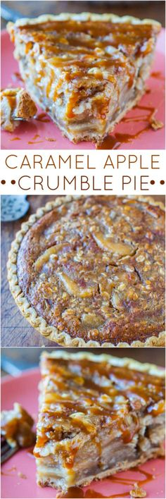 Caramel Apple Crumble Pie - Apple pie meets apple crumble with loads of caramel! Goof proof 5 minute recipe.