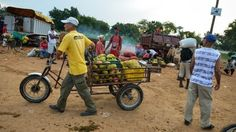 As an occupation. The cubans usually ride in tricycles and sell fruits or other foods in the back of their bike